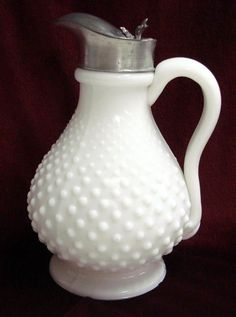 Antique Milk Pitchers | Antique Milk Glass Hobnail Syrup Pitcher