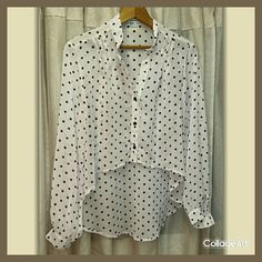 Forever 21 Polka dot Sheer Over Blouse From a smoke free home.  Cream color with brown polka dots.  100% polyester.  Has pretty pleats on shoulders and is cropped in front and long in the back. See-thru. Forever 21 Tops Crop Tops