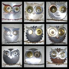 Recycled owls by WondersInWire made of all found and repurposed items.