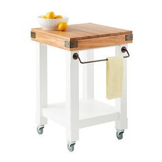 Enjoy free shipping on all purchases over $75 and free in-store pickup on the Butcher Block Rolling Kitchen Island Cart at The Container Store. Whether you need extra kitchen storage or a convenient food prep surface, our rolling kitchen cart is a huge help. It's constructed of hardwoods with a butcher block top that's a food-safe, functional cutting board. At the base, wheels lock into place so your work station is completely stable. A bottom shelf can hold juicers, mixers, tall stoc...