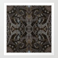 Curves & lotuses, abstract floral pattern, charcoal black, dark brown and taupe Art Print by Clipso-Callipso | Society6