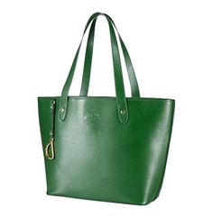 3a55f87fae Ralph Lauren Large Sloan Street Leather Tote Bag with Pouch (Green Gold)  Ralph
