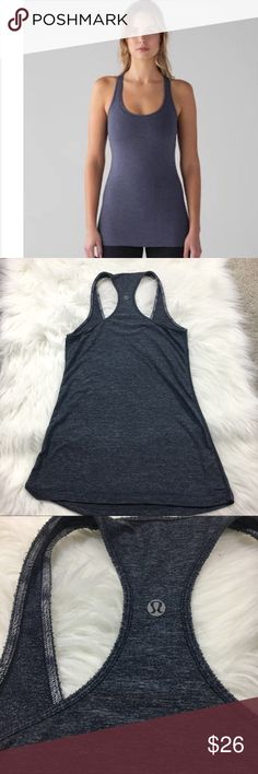 Lululemon Cool Racerback No size so I have included measurements.   Approx 13 inches across 25 in long   Heathered Majesty (blue/gray)  Minor wear lululemon athletica Tops Tank Tops