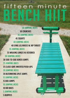 15 Minute HIIT Routine! All you need is a bench (and a towel...you will sweat!)