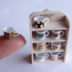 miniature dollhouse ceramic mugs