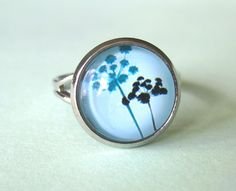 Cabochon ring blue flowers seed heads image by DoodlepopDesigns, £3.50