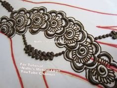 Beautiful DIY Floral Arabic Strip Henna Mehndi Design Tutorial for Back Hand - YouTube