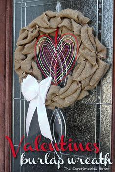 Valentines burlap wreath at theexperimentalhome.com