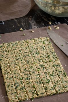 Cheezy Kale Crackers - These taste good and are filling!  Include soaked almonds, kale, coconut flour, kale, spices, flax meal...  NOTE: Dehydrate longer than 8 hours for summer Knoxville weather; try 12 hours. It's important to get the moisture out so they don't spoil. Try storing in the refrigerator to extend their life. Great snack! :)  Nutrition facts: 12 Carbs in 1/2 cup nutritional yeast + 36 Carbs in 3/4 cup coconut flour + 4 Carbs in 1/2 cup flax meal = 52 total Carbs in the recipe