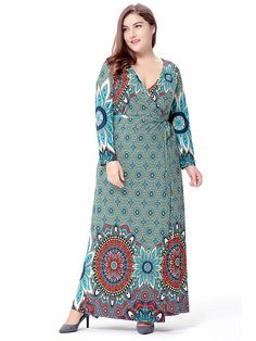 Buy Now (Mandala Prints V Neck Party Outfit Dress) from Sheetag - http://www.sheetag.com/product/mandala-prints-v-neck-party-outfit-dress/
