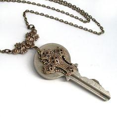 Key Necklace Handmade Jewelry - Key to the Kingdom - Cross Pendant. $38.00, via Etsy.