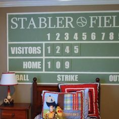 Personalized Baseball Scoreboard {tutorial}. This would be a great design for the pegboard headboard I want to do for Mr E's room.