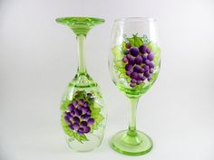 Hand Painted Wine Glasses Grapes Green Purple by PaintingByElaine