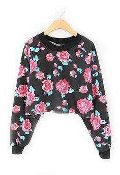 Black Long Sleeve Floral Crop Sweatshirt - Sheinside.com