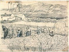 Vincent van Gogh Women Working in Wheat Field Drawing