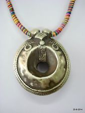 vintage antique tribal old silver pendant necklace gypsy hippie jewelry