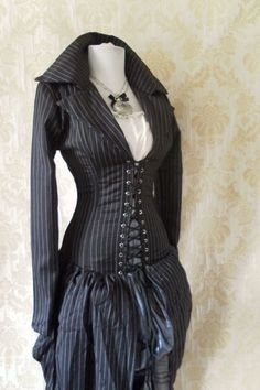 Pinstripe steel boned bustle corset coat, valkyrie lace front corset-to fit a 34-36 inch natural waist. $299.00, via Etsy.