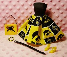 Barbie Clothes - Iowa Hawkeyes Dress, Purse, Necklace, Belt and Shoes!
