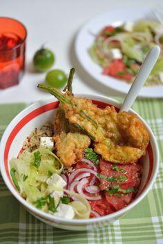 Salade de Quinoa and Beignets aux Fleurs de Courgettes - Safran Gourmand