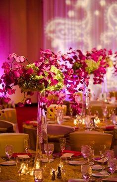 Modern Hot Pink and Green Wedding Centerpiece