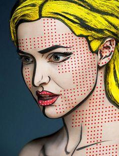 Pop Art makeup / Comic makup / Costume / Roy Litchenstein ...