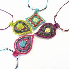 Crochet necklacefiber necklacecrochet by GiadaCortellini on Etsy Freeform Crochet, Bead Crochet, Crochet Motif, Crochet Flowers, Crochet Earrings, Crochet Patterns, Crochet Collar, Fuchsia, Fabric Jewelry