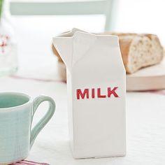 Ceramic 'MILK' Carton Jug