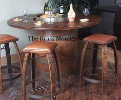 Indoor Outdoor Napa Style Wine Barrel Bistro Pub Rustic Solid Wood Table | eBay