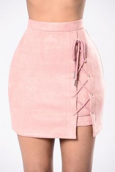 Available in Mauve and Black A Line Silhoutte Lace Up Detail Back Zipper Faux Suede Polyester Spandex Skirt Outfits, Stylish Outfits, Teen Fashion Outfits, Fashion Dresses, Mode Kawaii, Vetement Fashion, Tennis Clothes, Sexy Skirt, Cute Skirts