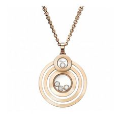 Chopard Happy Diamonds 18kt Rose Gold Four Circle Pendant Necklace... ($5,440) ❤ liked on Polyvore featuring jewelry, necklaces, circle pendant necklace, diamond necklace pendant, round pendant necklace, rose gold necklace and pendant necklace