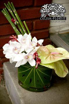 Exotic Floral ~ Anthurium, Cymbidium orchid, Equisetum/Horse Tail, Anigozanthos/Pink Kangaroo Paw, Monstera leaf