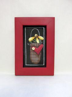 Single Yellow Flower in Basket Red Heart by barbsheartstrokes
