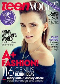 Emma Watson en la portada de agosto 2013 Teen Vogue, fotografía de Boo George.