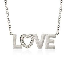 Diamond Accent Love Necklace In Sterling Silver