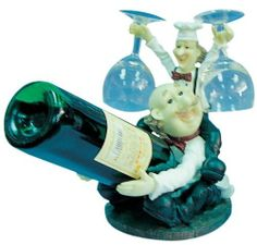 Bobble Head Chef Wine Bottle And Glass Holder by EST GIFTLAND. $22.96. Chef Bobble Head. Chef Wine Bottle And Glass Holder. Made of Poly-Resin. Wonderful Gift For Father And Friends.. Great for Dining room. Chef Wine Bottle And Glass Holder