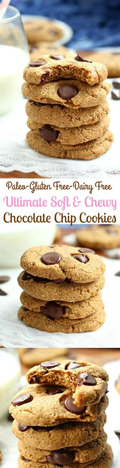 Ultimate Soft and Chewy Paleo Chocolate Chip Cookies - gluten free, grain free, dairy free - the best!