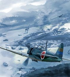 Japanese Zero fighter over Pearl Harbour. Ww2 Aircraft, Fighter Aircraft, Military Aircraft, Fighter Jets, Military Drawings, Imperial Japanese Navy, Pearl Harbor Attack, War Thunder, Aircraft Painting
