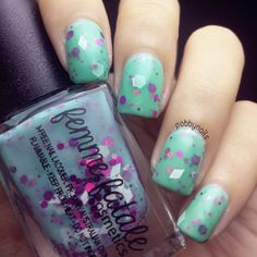 Winter Hyacinth by Femme Fatale painted over Emerald Green from @nailartsingapor .  http://instagram.com/p/s6laqdhejk/?modal=true