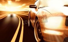 Two sport cars racing on a narrow road via MuralsYourWay.com