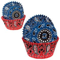 """(75) ~BLUE & RED BANDANA PRINT~ CUPCAKE LINERS (2"""") BAKING CUPS BIRTHDAY PARTY  #Wilton"""