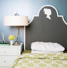 Painted headboard- painted directly on the wall, saves space and money