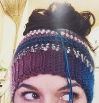 Bun Hats are so popular right now. Here is my free pattern to make your own out of Red Heart Boutique Unforgettable.