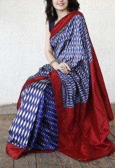 Classic Blue Handwoven Ikat Silk Saree from Ikatindia.com