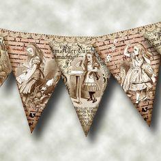 ALiCE In WoNDERLAND - Primitive Style Pennants/Flags/Banner- Printable Collage Sheet JPG Digital File- BuY 1 GeT 1 FREE
