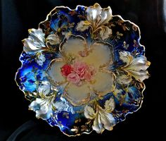 Antique-RS-Prussia-Red-Wreath-Mark-Iris-Mold-Pink-Poppy-Cobalt-Blue-Large-Bowl