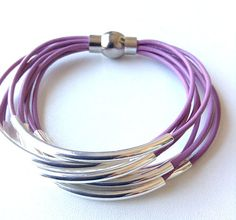 Lilac Purple Lavender Leather Cuff #Bracelet by wrapsbyrenzel