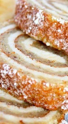 Banana Roll with Cheesecake Filling (tropical desserts banana bread) Cake Roll Recipes, Cheesecake Recipes, Banana Cheesecake, Top Recipes, Cupcake Recipes, Vegan Recipes, Banana Roll, Banana Cream, Baked Banana