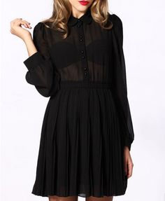 Retro Semi-sheer Chiffon Dress