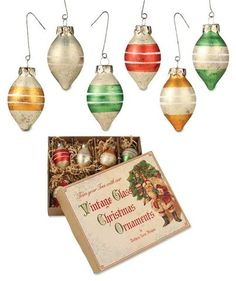 Vintage Teardrop Striped Ornaments - Bethany Lowe
