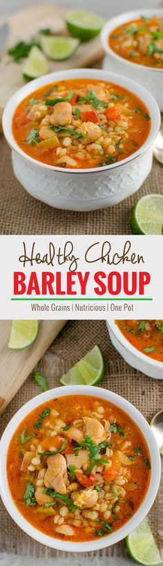 Easy chicken and barley soup recipe -- One pot, healthy, wholesome & nutrient packed soup perfect for lunch or dinner. | http://watchwhatueat.com